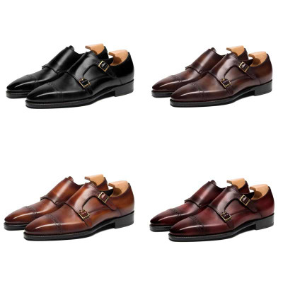 Goodyear Fashion Double Monk Strap Mens Dress Shoes Red Leather