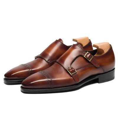 Double Monk Strap Shoes  Mens Red