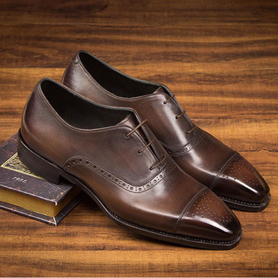 High Grade Genuine Leather Mens Dress Derby Shoes pointed toe