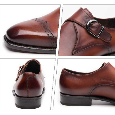 High Grade Italian Mens Monk Strap Shoes Genuine Leather
