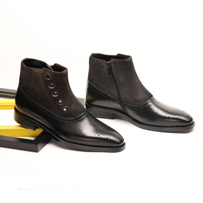 Mens suede boots black