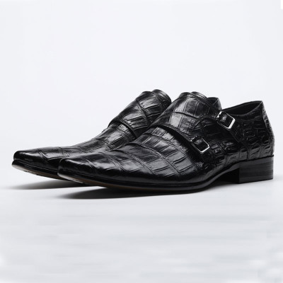 Double monk strap shoes black
