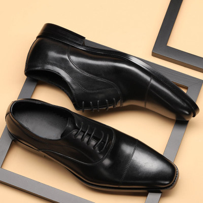 Mens cap toe shoes black