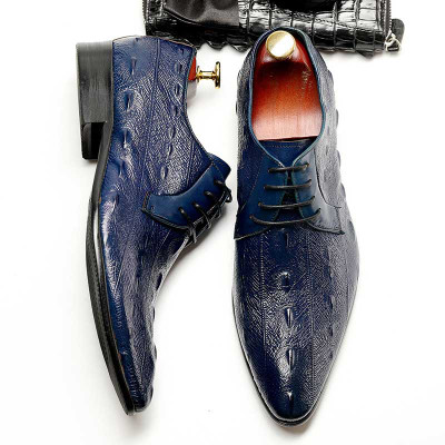New Fashion Crocodile Pattern Mens Formal Business Shoes Genuine Leather