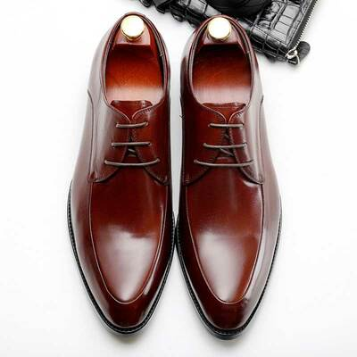 Mens Classic Derby Dress Shoes Leather