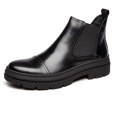 Mens Black Leather Ankle Dress Chelsea Boots for Jeans