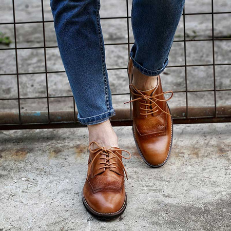 Mens vintage fashion leather derby shoes for jeans