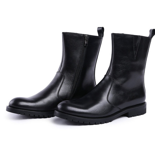 Cool leather dress boots for men
