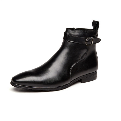 Mens Buckle Black Leather Ankle Dress Boots For Jeans Grimentin