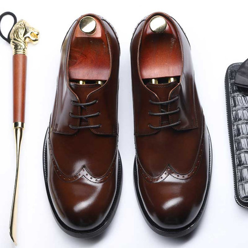 Mens Round Toe Derby Leather Shoes