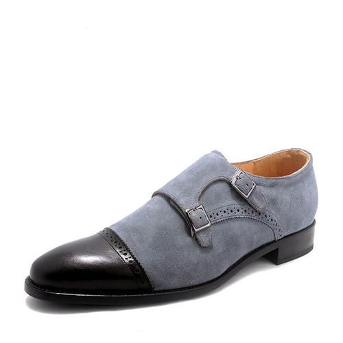 Mens Blue Suede Shoes Mens Double Monk Strap Shoes