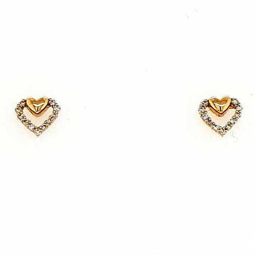 18ct Yellow Gold 0.10ct Diamond Heart Earrings diamond ring engagement ring belfast wedding ring eternity ring diamond jewellery