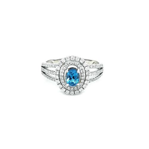 18ct White Gold Blue Topaz & Diamond Double Halo Cluster Ring diamond ring engagement ring belfast wedding ring eternity ring diamond jewellery