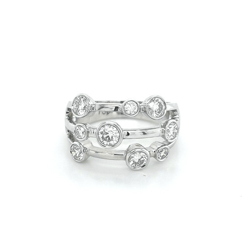 18ct White Gold 1.00ct Rub Over Set Fancy Diamond Ring physical Eternity Rings Murray & Co.