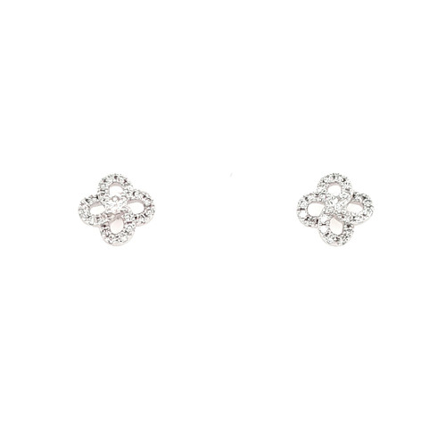 9ct White Gold 0.35ct Fancy Swirl Diamond Earrings