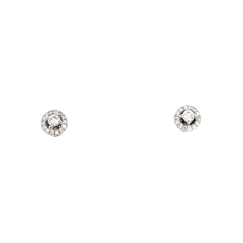 18ct White Gold 0.22ct Round Halo Diamond Earrings