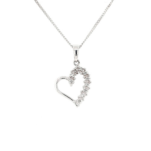 9ct White Gold 0.10ct Diamond Heart Pendant