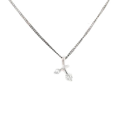 9ct White Gold 0.15ct Diamond Pendant