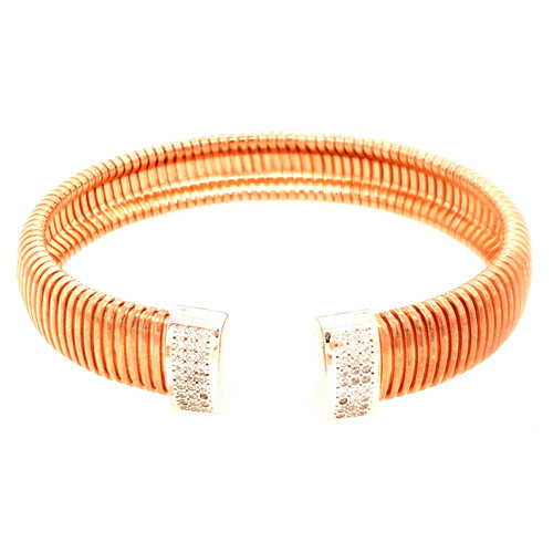 Just Jane Silver & Rose Gold CZ Bangle