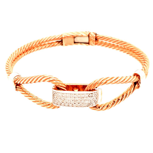 Just Jane Silver & Rose Gold Twisted Rope CZ Bangle