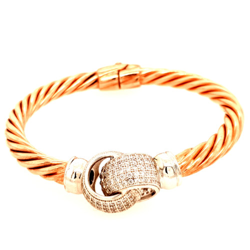 Silver & Rose Gold Bangle with Interlocking CZ Rings