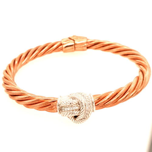Silver & Rose Gold with CZ Twisted Rope