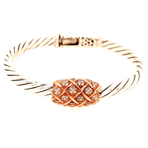 Just Jane Silver & Rose Gold Bangle with CZ Detailing