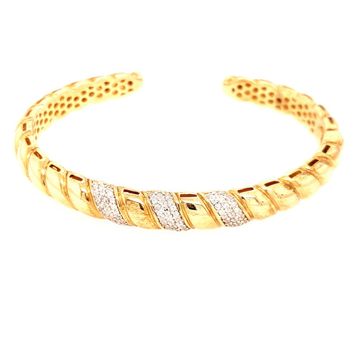 Just Jane Silver & Yellow Gold Triple Row CZ Bangle