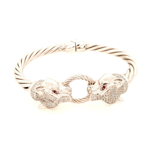 Just Jane Silver Panther Head Bangle