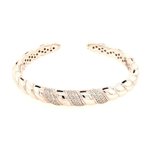 Just Jane Silver Triple Row CZ Bangle