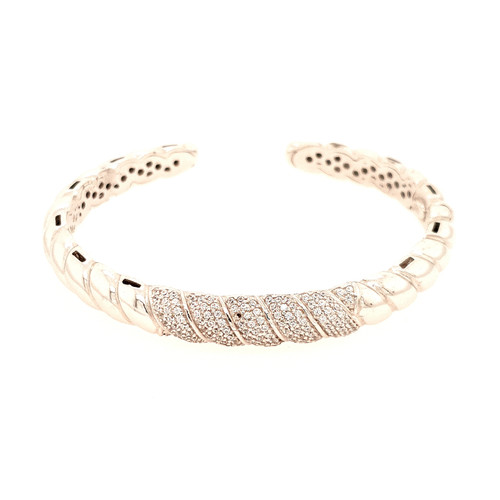 Just Jane Silver 5 Row CZ Bangle