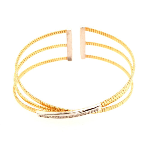 Just Jane Silver & Yellow Gold CZ Triple Band Bangle