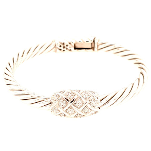 Just Jane Silver Twist Cubic Zirconia Bangle