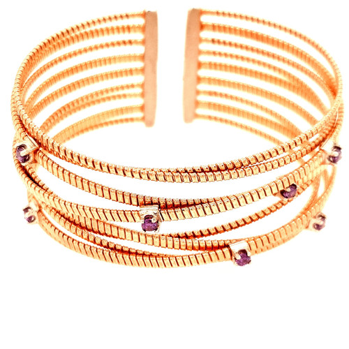 Just Jane Rose Gold Plated Silver 9 Row Bangle