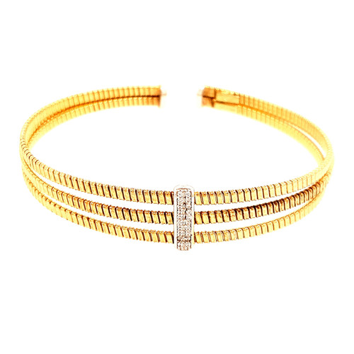 Just Jane Triple Row Rose Gold Plated Silver & CZ Bangle