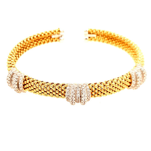 Just Jane Gold Plated Silver Bangle with CZ Detailing