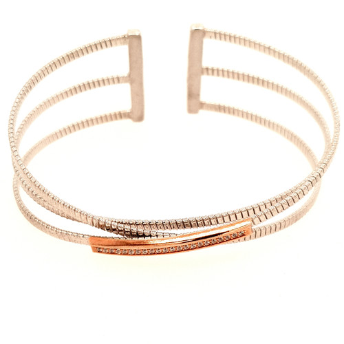 Just Jane Triple Row Silver Bangle with Rose Gold & CZ Detailing