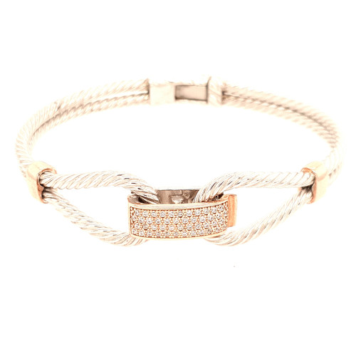 Just Jane Silver Rope Bangle with Rose Gold & CZ Detailing