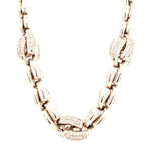 Just Jane Silver & CZ Heavy Necklace