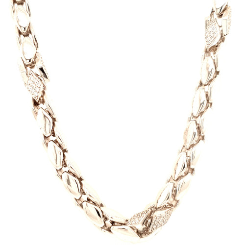 Just Jane Silver & Diamond Shaped CZ Detail Necklace