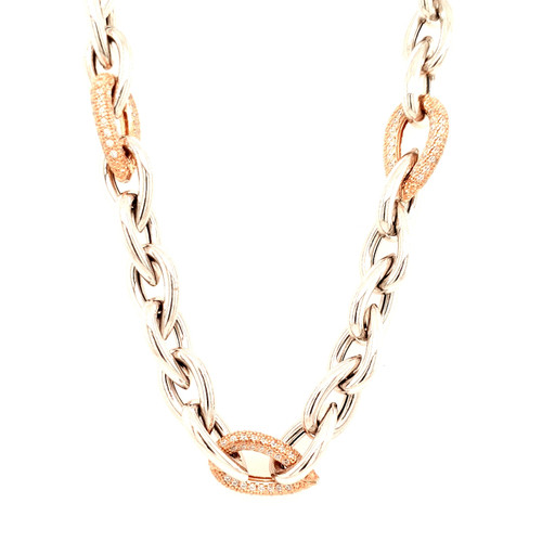 Just Jane Silver Chain Necklace with Rose Gold & CZ Detailing