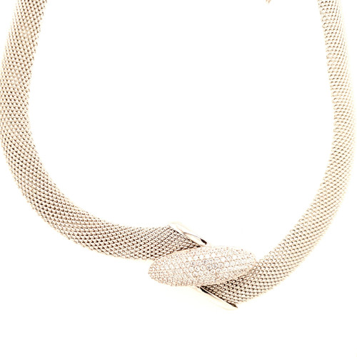 Just Jane Silver Necklace with CZ Oval Design