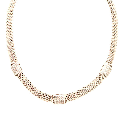 Just Jane Silver Necklace with CZ Detailing