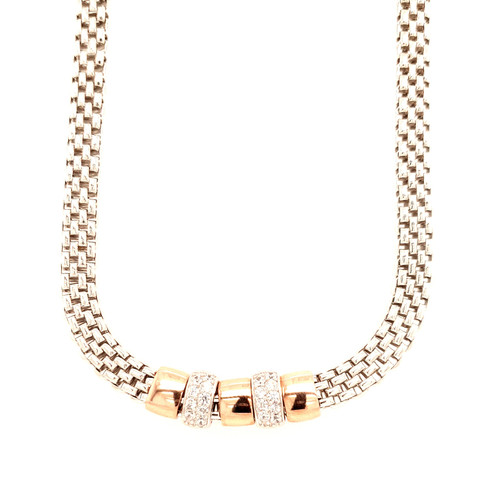 Just Jane Silver, Rose Gold & Cubic Zirconia Necklace