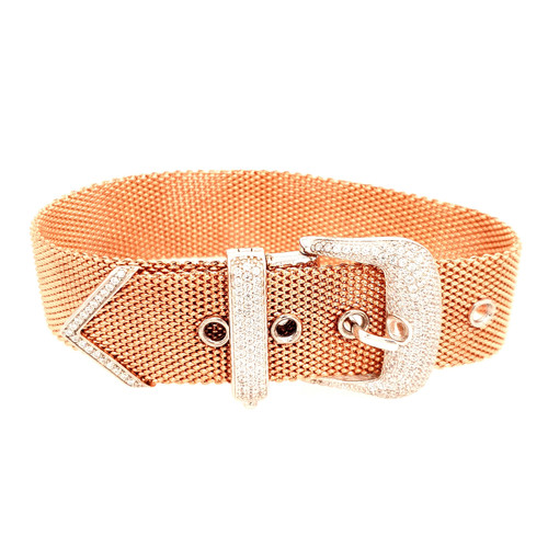Just Jane Rose Gold Plated Silver CZ Large Belt Buckle Bracelet