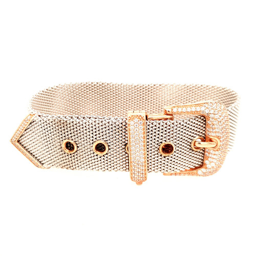 Just Jane Silver CZ Large Rose Gold Belt Buckle Bracelet