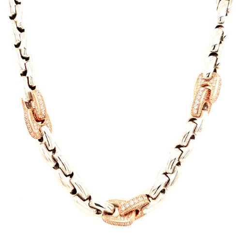 Just Jane Silver Chain Necklace with Rose Gold & CZ Detail