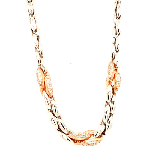 Just Jane Silver Necklace with Marquise Style Rose Gold & CZ Detailing