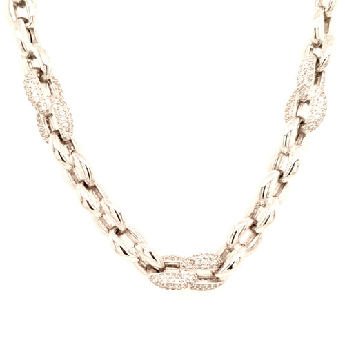 Just Jane Silver Heavy Necklace with CZ Detailing