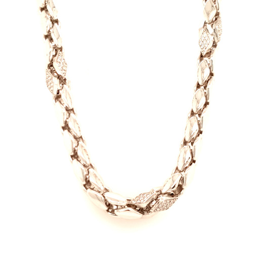 Just Jane Silver Necklace with Diamond Shaped CZ Detailing